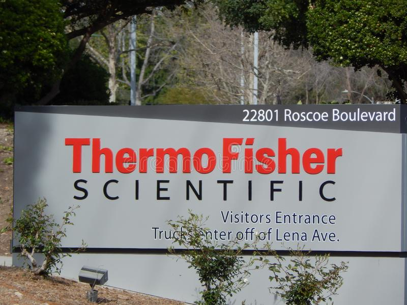 West Hills, CA / United States - April 1 2019: Thermo Fisher Scientific. Sign in front of West Hills Office Park location stock photos