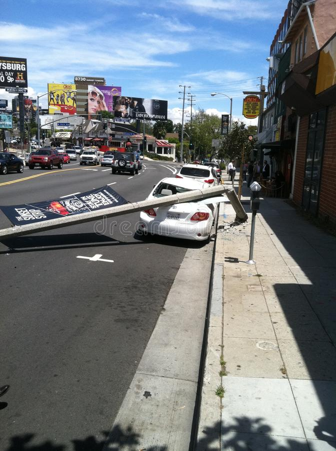 West Hollywood, CA/Verenigde Staten - Mei 6, 2011: De witte lichte pool van Autoklappen op straatzonsondergang Blvd , West Hollyw stock afbeeldingen