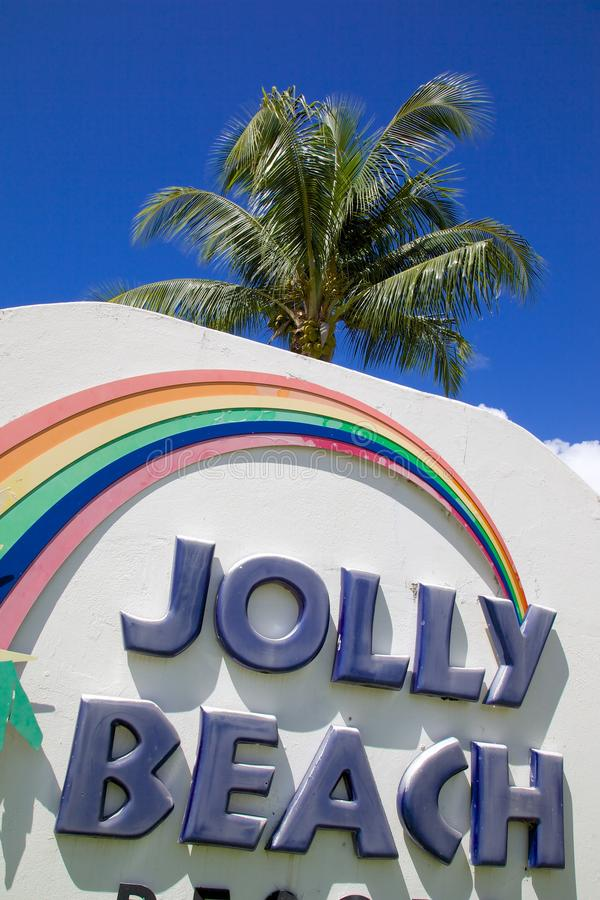 West Indies, Caribbean, Antigua, St Mary, Jolly Harbour Sign stock images