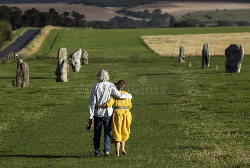 West Kennet Avenue ancient monument of standing stones near Avebury in Wiltshire, England stock photos