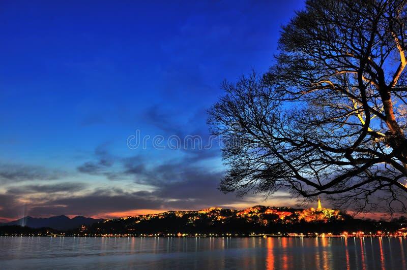 West Lake in Hangzhou, China night royalty free stock image
