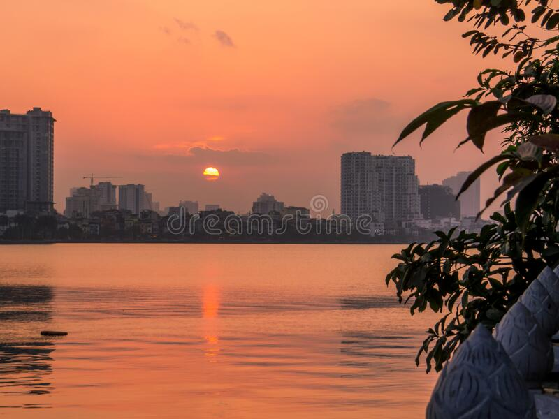 West Lake, Hanoi, Vietnam. Sunset on the West Lake in Hanoi, Vietnam royalty free stock photography