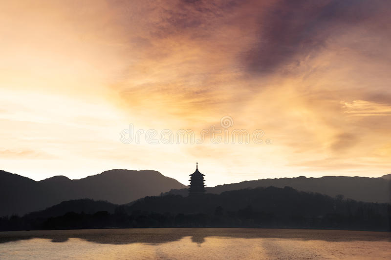 West Lake landscape at sunset in Hangzhou royalty free stock photography