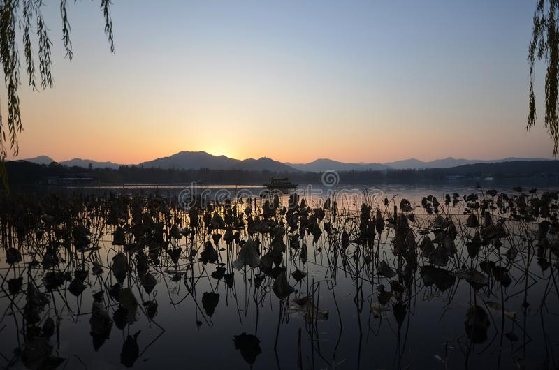 West Lake located at Hangzhou,China in the evening royalty free stock photos