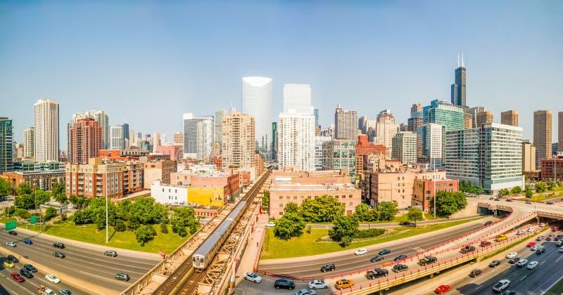 West Loop, Σικάγο, ΗΠΑ Πανόραμα εικονικής παράστασης πόλης στοκ φωτογραφία