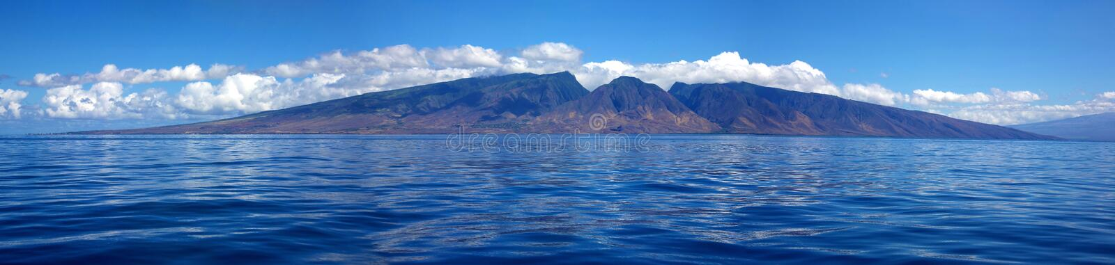 West Maui mountains. A panorama of the west Maui mountains as seen from the water off of Lahaina Maui, Hawaii stock photo