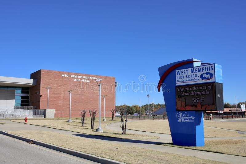 West Memphis Arkansas High School, West Memphis, AR. West Memphis High School is an accredited comprehensive public high school for students in grades ten stock image