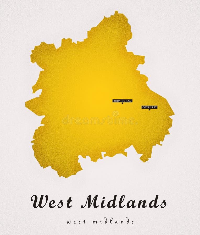 West Midlands Art Map ilustración del vector