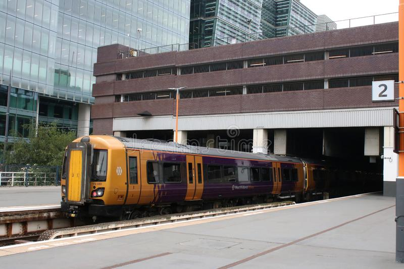 West Midlands railway dmu train arriving Snow Hill. West Midlands railway class 172 Turbostar dmu train arriving at Birmingham Snow Hill railway station with stock photography