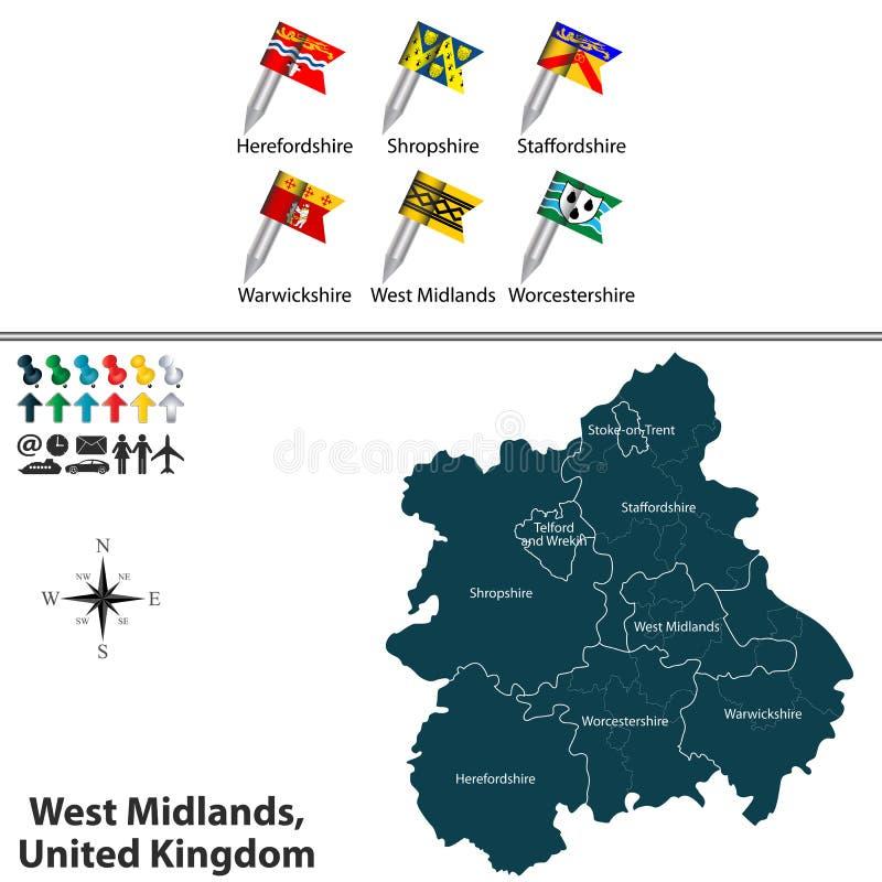 West Midlands, Reino Unido ilustración del vector