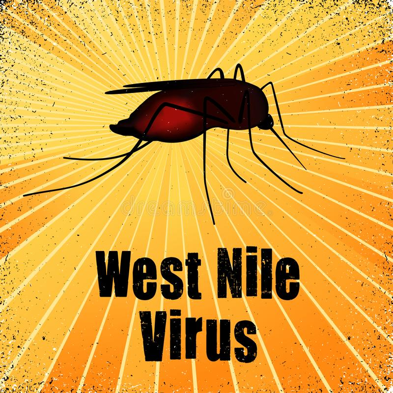 West Nile Virus, Blood filled Mosquito. Infectious medical disease, public health problem, gold ray grunge background stock illustration