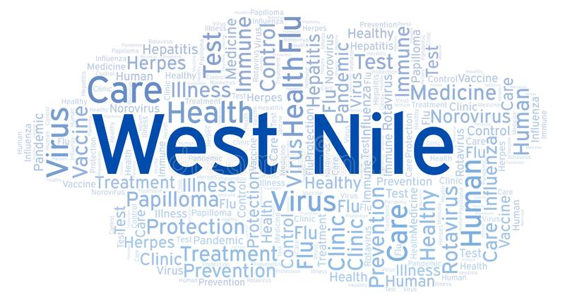 West Nile word cloud, made with text only. West Nile word cloud, made with text only royalty free illustration