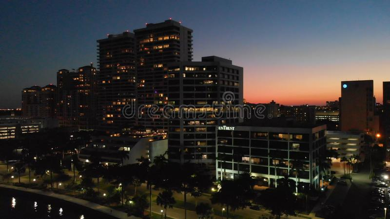 WEST PALM BEACH, FL - APRIL 10, 2018: Aerial city skyline at night. Palm Beach is a major destination in Florida stock images