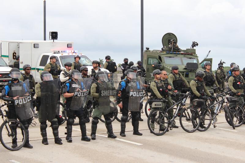 Protesting the death of George Floyd in West Palm Beach, Florida. WEST PALM BEACH, FL- JUNE 02: Police hold a perimeter near Mar-a-Lago as demonstrators gather royalty free stock photography