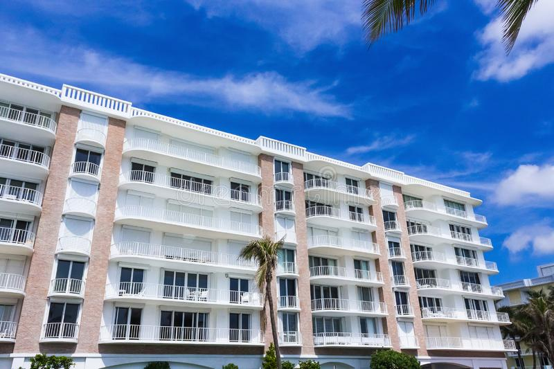 WEST PALM BEACH, Florida -7 May 2018: The apartments at Palm Beach, Florida, United States. WEST PALM BEACH, Florida -7 May 2018: The apartments at Palm Beach royalty free stock photos