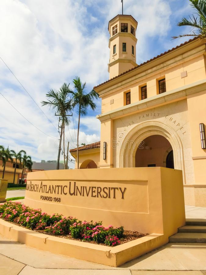 WEST PALM BEACH, Florida -7 May 2018: View of the Palm Beach Atlantic University in West Palm Beach, Florida, United. WEST PALM BEACH, Florida -7 May 2018: View royalty free stock photo
