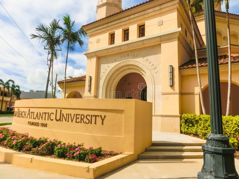 WEST PALM BEACH, Florida -7 May 2018: View of the Palm Beach Atlantic University in West Palm Beach, Florida, United. WEST PALM BEACH, Florida -7 May 2018: View stock images