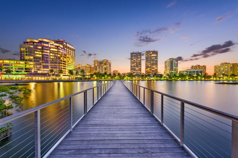 West Palm Beach, Florida, USA. Downtown skyline on the intracoastal waterway stock photos