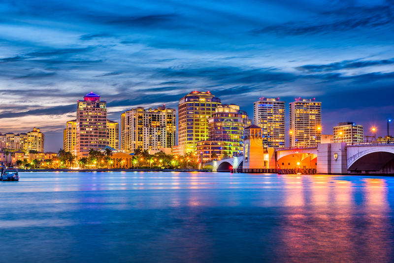West Palm Beach Florida. West Palm Beach, Florida, USA downtown skyline on the waterway royalty free stock images