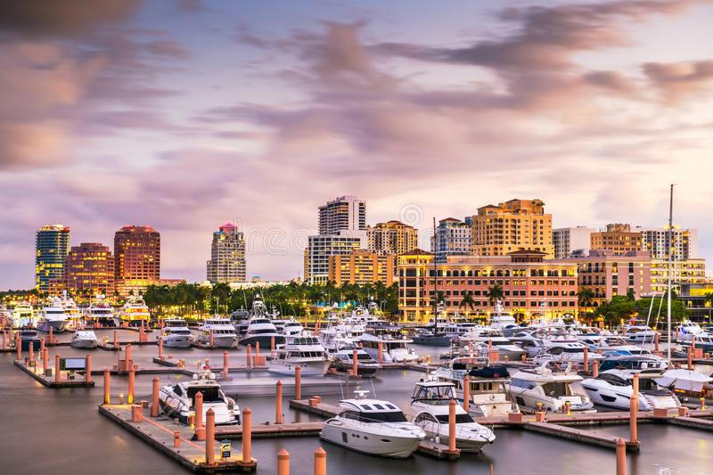 West Palm Beach, Florida, USA downtown skyline. On the Intracoastal Waterway at dusk stock images