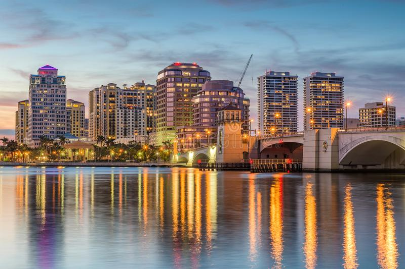 West Palm Beach, Florida, USA. Downtown skyline royalty free stock photos