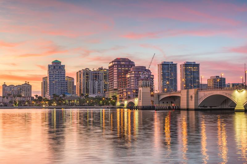 West Palm Beach, Florida, USA. Downtown skyline stock photo