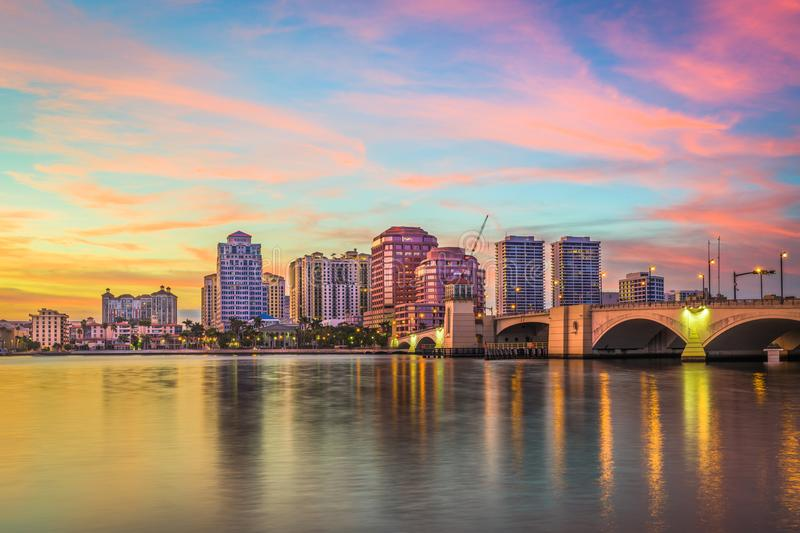 West Palm Beach, Florida, USA. Downtown skyline stock photography