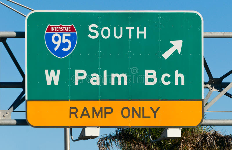 West Palm Beach huvudvägtecken royaltyfria foton