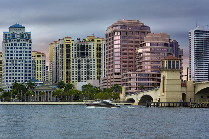 West Palm Beach Skyline. West Palm Beach, Florida, United States royalty free stock images