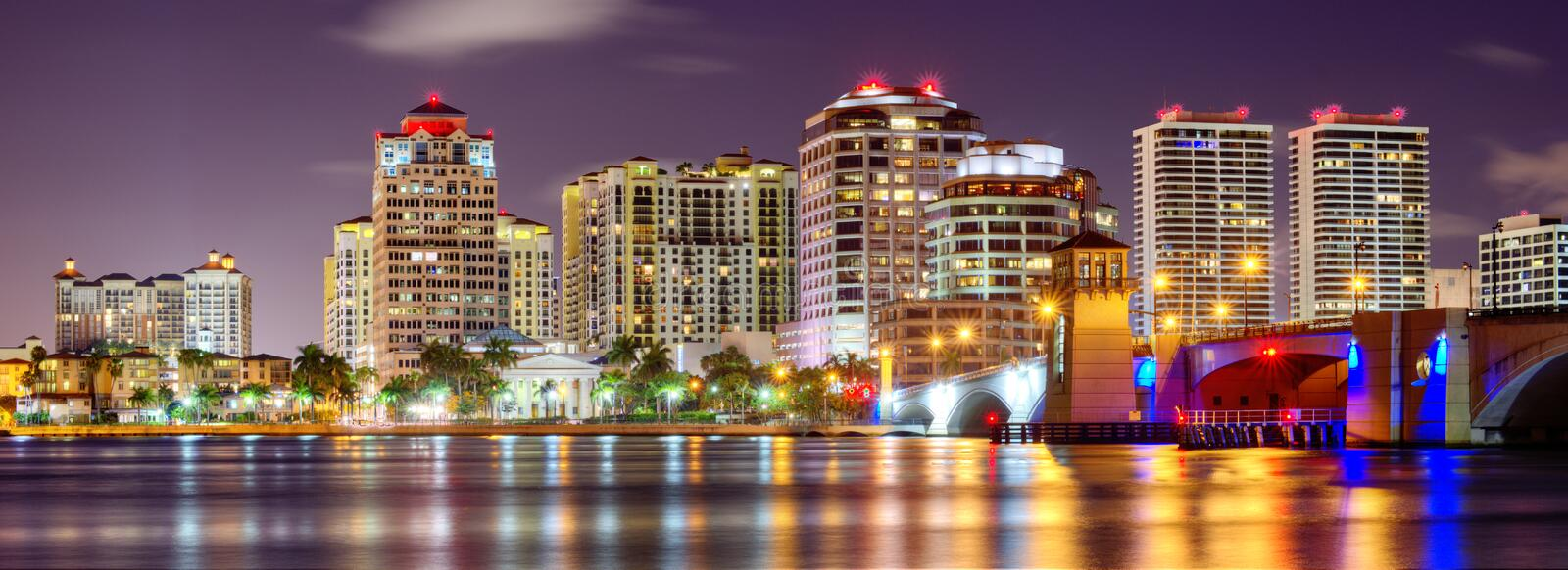 Download West Palm Beach Skyline stock photo. Image of pano, south - 32301330