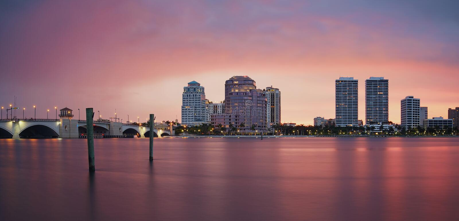 West Palm Beach Skyline Reflection. West Palm Beach, Florida, United States stock photography