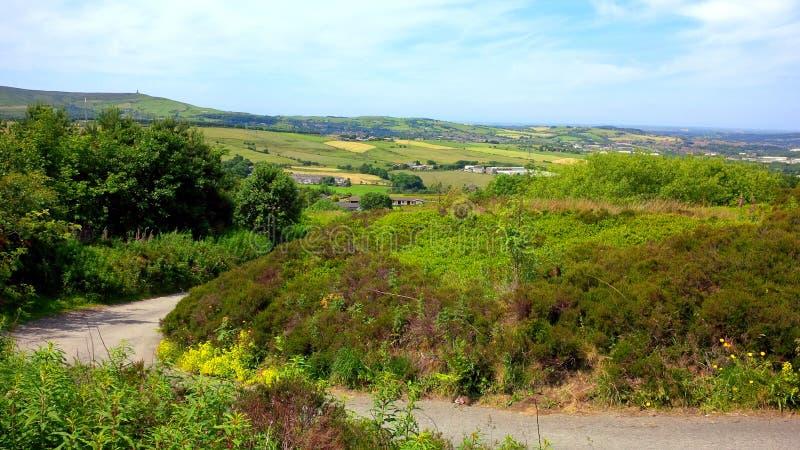 West Pennine Moors near Darwen. Fields on the West Pennine Moors near Darwen stock photos