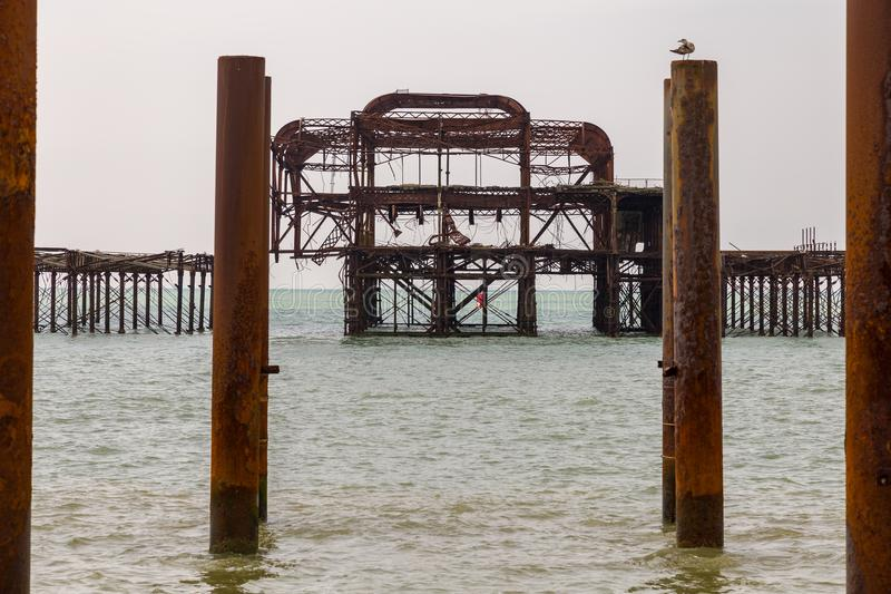 West Pier, Brighton, UK. The remains of West Pier, seen from Brighton Beach, East Sussex, England, UK stock photo