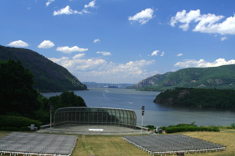 West Point. Trophy Point Amphitheatre, at West Point, with a view of the Hudson River looking north royalty free stock photography