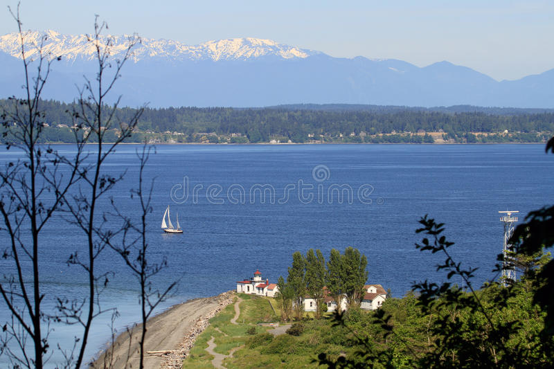 Download West Point Lighthouse Discovery Park Aerial Stock Photo - Image: 19815594