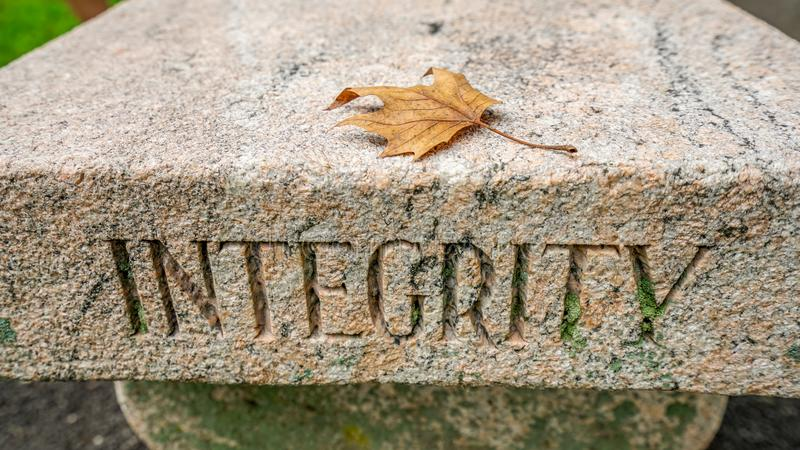 The West Point Integrity bench. stock images