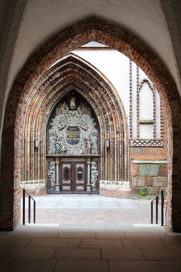 West portal of St. Nikolai, Church Stralsund, Germany stock photography