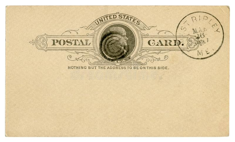 West Ripley, Maine, The USA - 26 March 1889: Blanked US historical Postal Card with black text in vignette, Imprinted One Cent Tho. Mas Jefferson stamp, Fancy royalty free stock photography