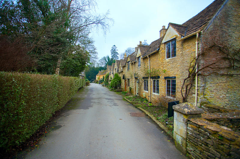 West Street in Castle Combe Village. West Street in the village of Castle Combe during winter. The village is often regarded as the prettiest village in England royalty free stock images