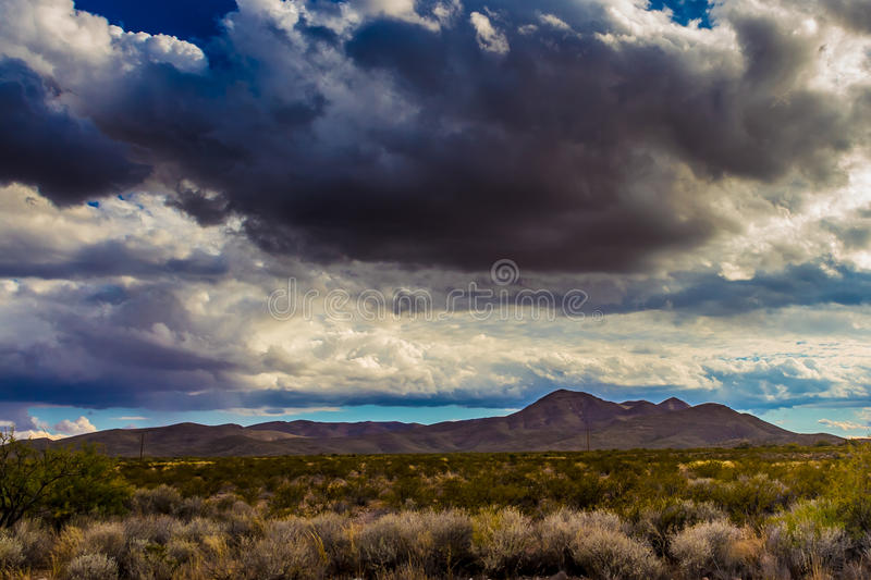 West Texas Landscape of Desert Area with Hills. West Texas Landscape of Desert Area with Hills and Stormy Clouds stock photography