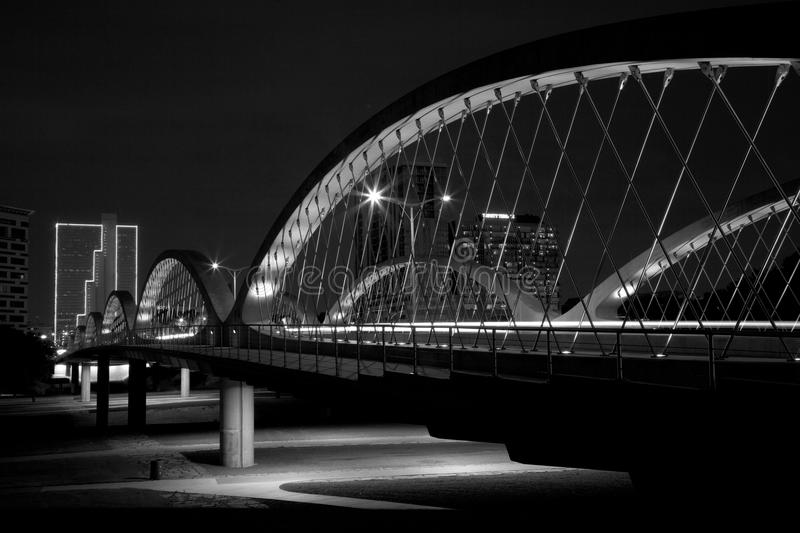 West 7th strret bridge in downtown Fort worth. Black and white picture about west 7th street bridge in downtown Fort Worth, TX USA stock image