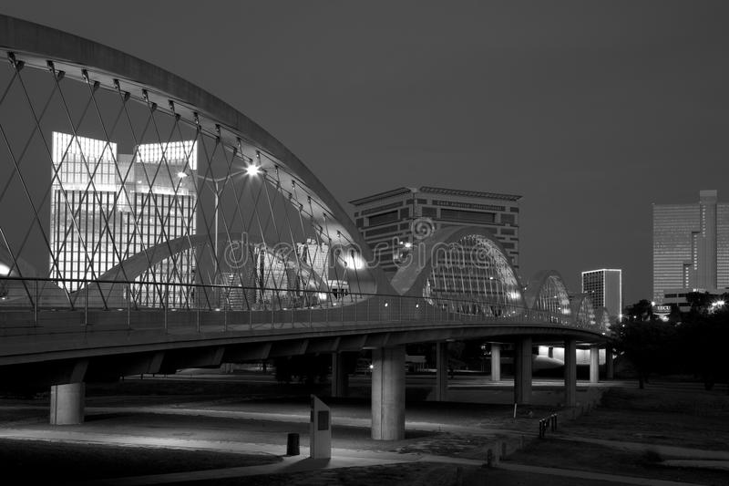 West 7th strret bridge and downtown Fort worth. Black and white picture about west 7th street bridge in downtown Fort Worth, TX USA stock images