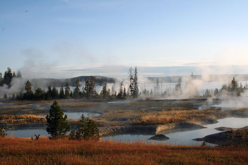West Thumb. Sunrise in yellowstone stock photography