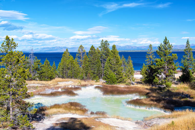 West Thumb Geyser Basin Landscape. Landscape view of the West Thumb Geyser Basin with Yellowstone Lake in the background at Yellowstone National Park stock images