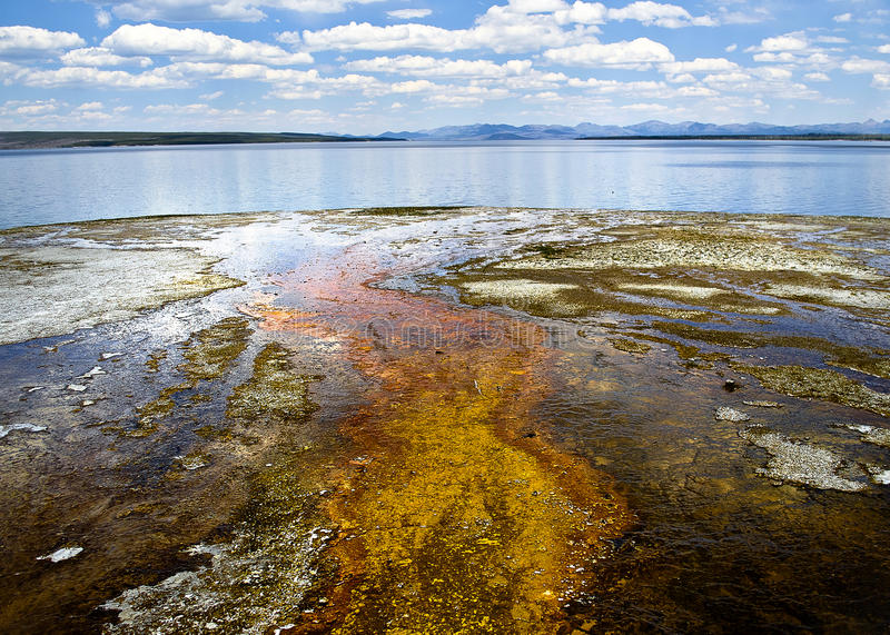 West Thumb. Geyser Basin in Yellowstone National Park. Looking over Yellowstone Lake stock images
