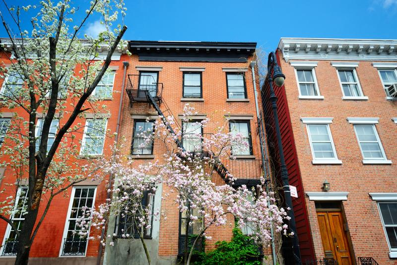 West Village. New York City apartments in the springtime royalty free stock photography