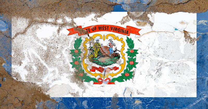 West Virginia damaged, scratch, old style state USA flag on wall. West Virginia grunge, damaged, scratch, old style state USA flag on wall royalty free stock images