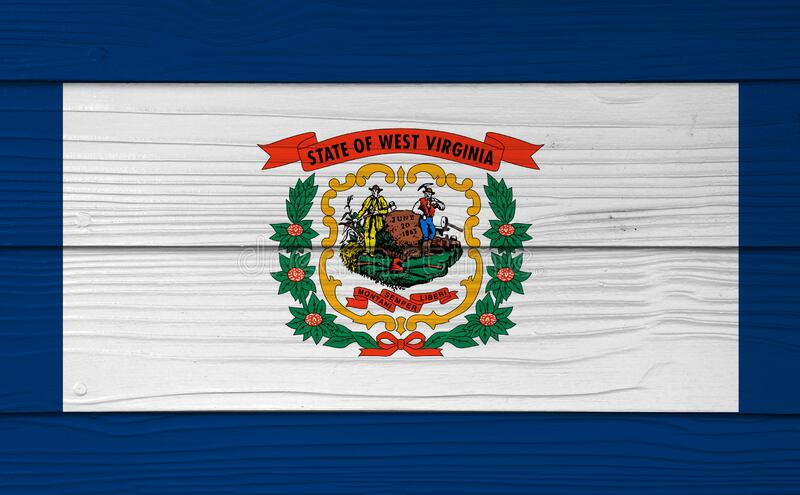 West Virginia flag color painted on Fiber cement sheet wall background. A pure white field bordered on four sides by a stripe of. Blue with the coat of arms of royalty free stock photos