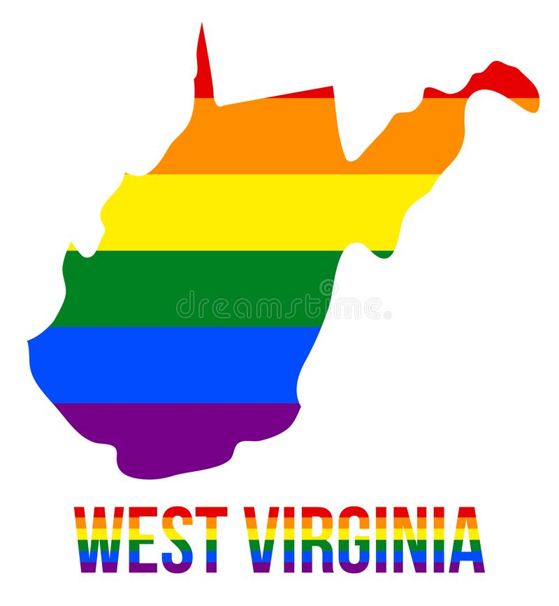 West Virginia State Map in LGBT Rainbow Flag Comprised Six Stripes With West Virginia LGBT Text. The Flag Comprised Six Stripes; Meaning to Each of The Colors stock illustration