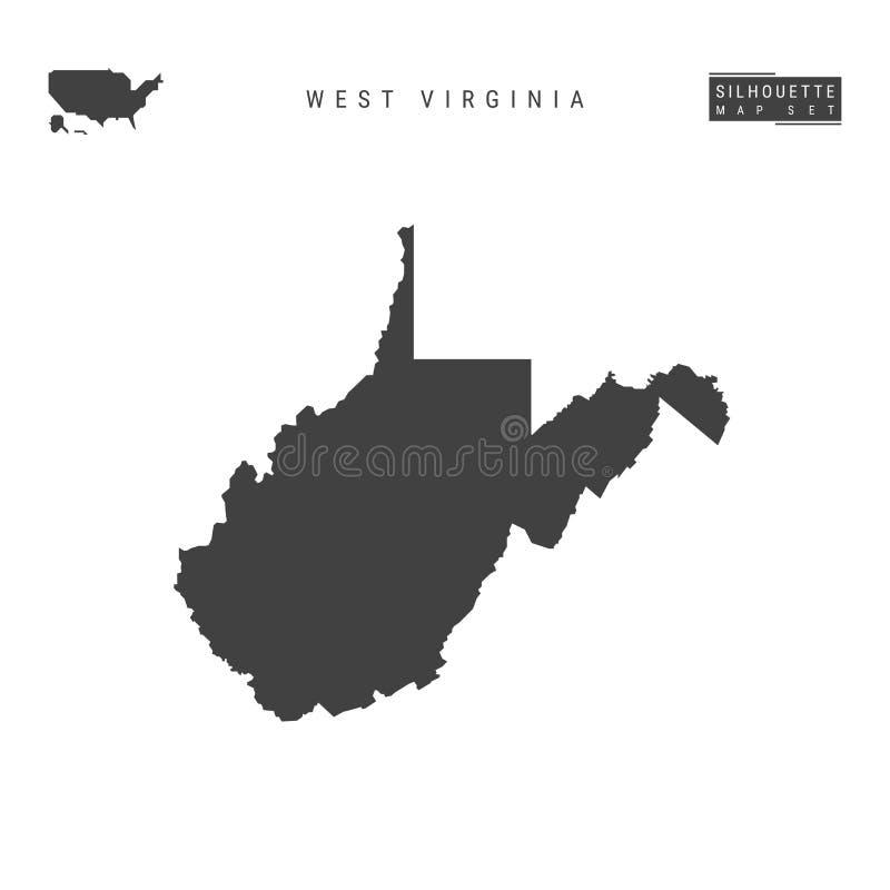 West Virginia USA påstår vektoröversikten som isoleras på vit bakgrund Hög-specificerad svart konturöversikt av West Virginia royaltyfri illustrationer